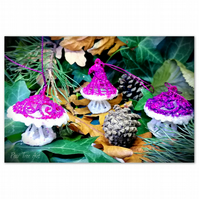 Pink Toadstool Christmas decorations set of 3