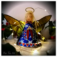 Large: Blue Coffee Tin Angel Christmas tree topper
