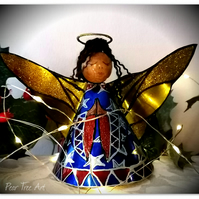 Blue Tin Angel Christmas tree topper