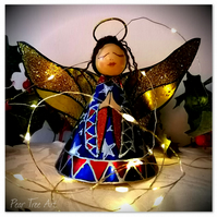 Large: Blue Tin Angel Christmas tree topper