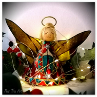 Red Tin Angel Christmas tree topper