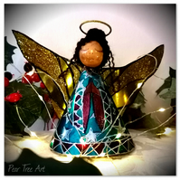 Turquoise Tin Angel Christmas tree topper