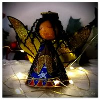 Small: Tin Angel Christmas Tree decoration (Blue and red)