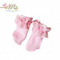 Pink Lace Topped Ankle Socks