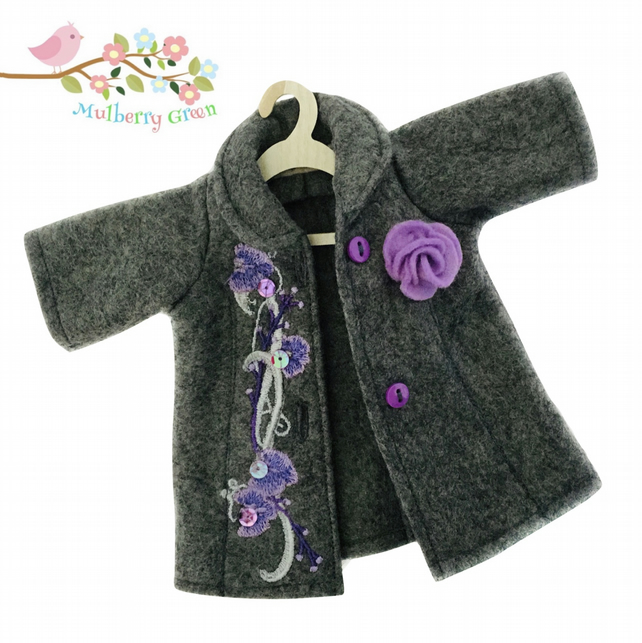 Grey Tailored Coat Embroidered with Flowers