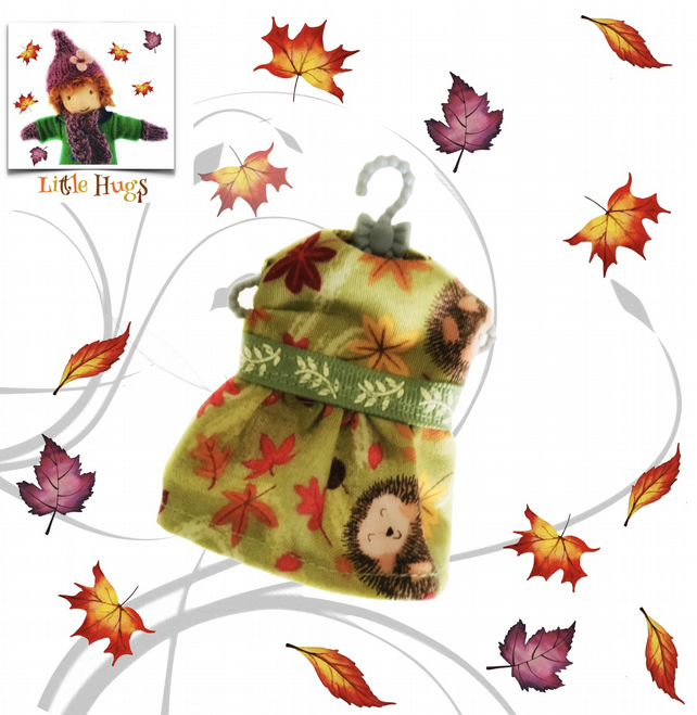 Hedgehogs in the Leaves Dress to fit the Little Hugs dolls and Baby Daisy