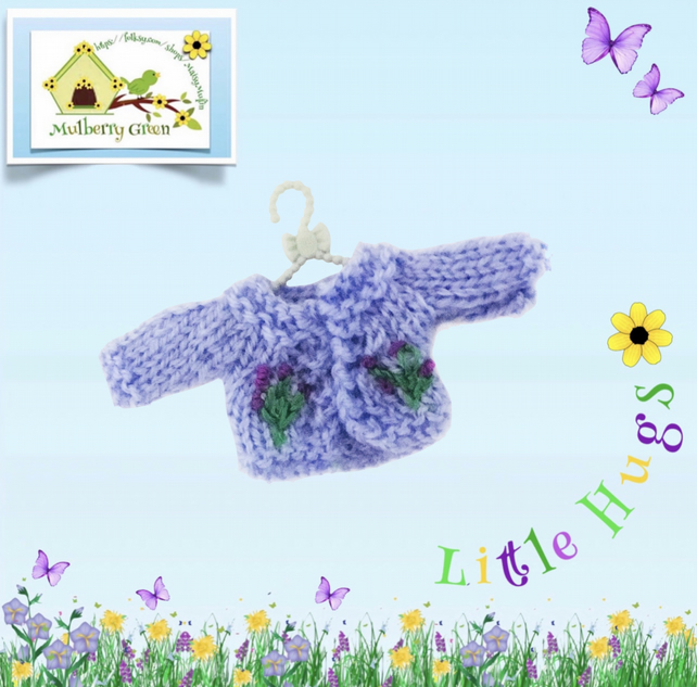 Embroidered Lavender Cardigan to fit the Little Hugs dolls