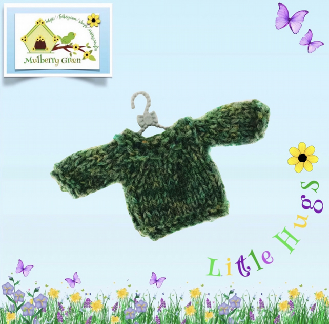 Green Tweed Jumper to fit the Little Hug Dolls