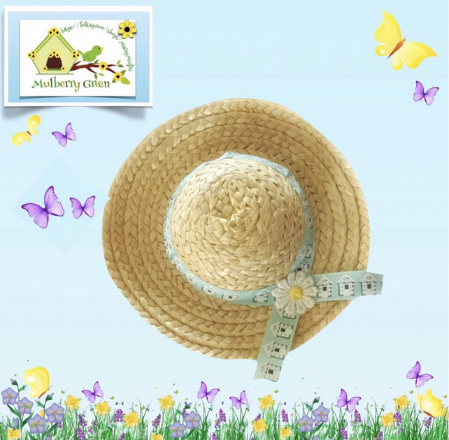 Beach Huts Trimmed Hat to fit the Mulberry Green characters