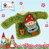 Green Jumper appliquéd and embroidered with a Cute Garden Gnome