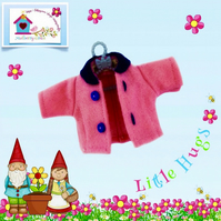 Bright Pink Jacket with a navy collar to fit the Little Hugs dolls