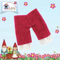 Raspberry Corduroy Cropped Trousers trimmed with Broderie Anglais