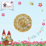 Little Hugs' Pink Rose and Daisies Straw Hat