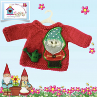 Raspberry Pink Jumper appliquéd and embroidered with a Cute Garden Gnome