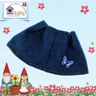 Flared Denim Skirt with a Blue Butterfly decoration