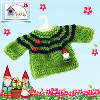 Apple Green and Navy Striped Jumper with a Cute Garden Gnome