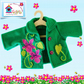 Green Tailored Jacket Embroidered with Flowers