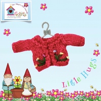 Raspberry Pink Cardigan Embroidered with Flowers to fit the Little Hugs dolls