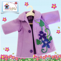 Tailored Lavender Coat Embroidered with Flowers