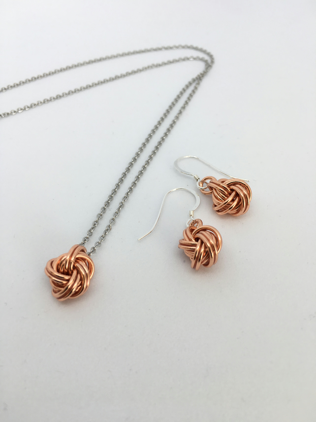 Pure Copper Infinity Love Knot Jewellery Set for 7th 9th 22nd Anniversary Gift