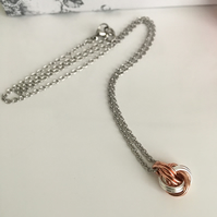 Copper and Sterling SIlver infinity Love Knot Necklace 22nd Anniversary Gift