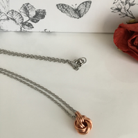 Copper Infinity Love Knot Necklace 7th, 9th, 22nd Anniversary Gift for Her.