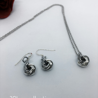 Aluminium and Silver infinity Knot Necklace and Earrings Gift Set