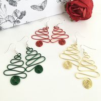 Christmas Tree Earrings, Wire Work Drop Dangle Earrings in Red, Green and Gold