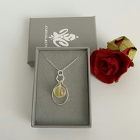 Citrine Pendant Necklace, Silver Wrapped Amber Round Stone With Silver Dangle