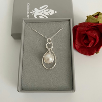 Ivory Pearl Pendant Necklace with Silver Wrapping and Silver Oval Dangle