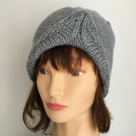 Celtic Grey Turban 1940s Style Beanie Hat Hand knitted Gift Ideal for Her