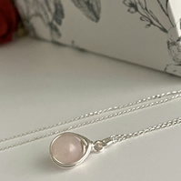 Rose Quartz Silver Wire Wrapped Pendant Necklace