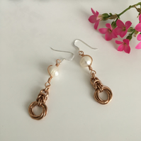 Ivory Pearl Bronze Wire Wrapped Mobius Knot Earrings