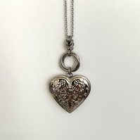 Large Silver Heart Photo Locket Pendant Necklace for Her