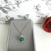 Emerald Green Birthstone Pendant Necklace for May Birthday Gift Idea.