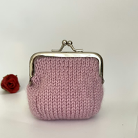 Small Hand Knitted Coin Purse in Pastel Pink with Silver Kiss Lock Frame