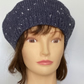 Women's Classic Hand Knit Wool Beret, Airforce Blue Hat, Knitted French Beret