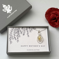 Citrine Pendant Necklace, Silver Wrapped Amber Round Stone Mother's Day Gift