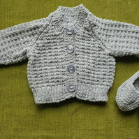 Tiny Cardigan with Dear Little Slippers. Merino Wool. Perfect for your Newborn.