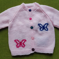 Pretty in Pink Cardigan with Sweet Sparkly Butterflies . For ages 2-3 years.