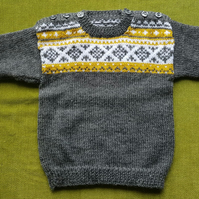 Nordic Style Wool Blend Jumper in Grey, Mustard and White For age 2-3 years.