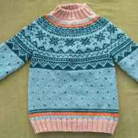 Gorgeous Green & Honey Brown Nordic Style Jumper. For 4-5 years.