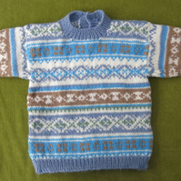 Striking Nordic Style Jumper in Natural White, Brown & Blue. Age 3-4