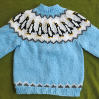 Cute Penguin Jumper in Blue and White For age 3 years.