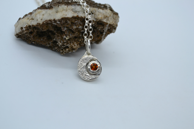 Moon and Madeira Sun Recycled Silver Pendant with Citrine. Ecosilver. Birthstone