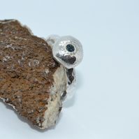 Hammered London Blue Topaz Nugget Ring in Recycled Silver