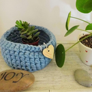 Crochet basket - light blue