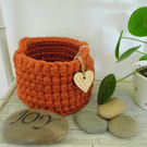 Crochet basket - burnt orange