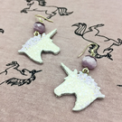 Unicorn silhouette wood dangle earrings white and lilac fantasy lover