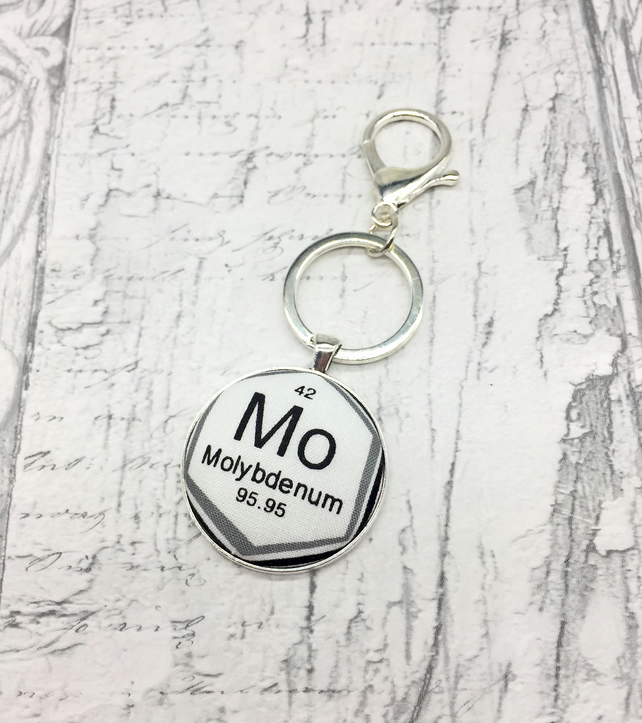 Science geek Molybdenum chemical element keyring or bag charm periodic table
